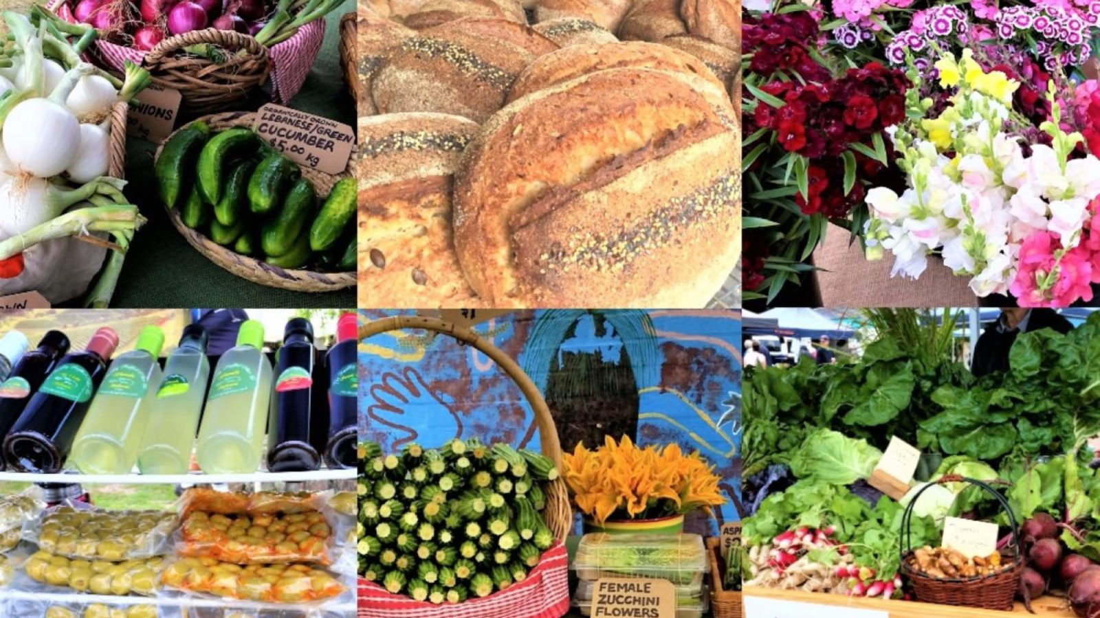 Forster Farmers Market photo collage of produce
