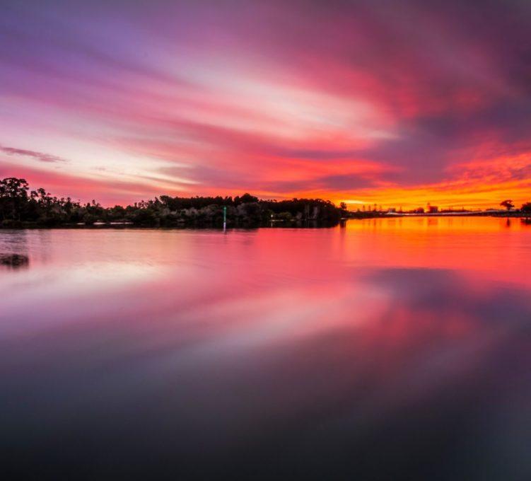 Miles Island sunset, Wallis Lake