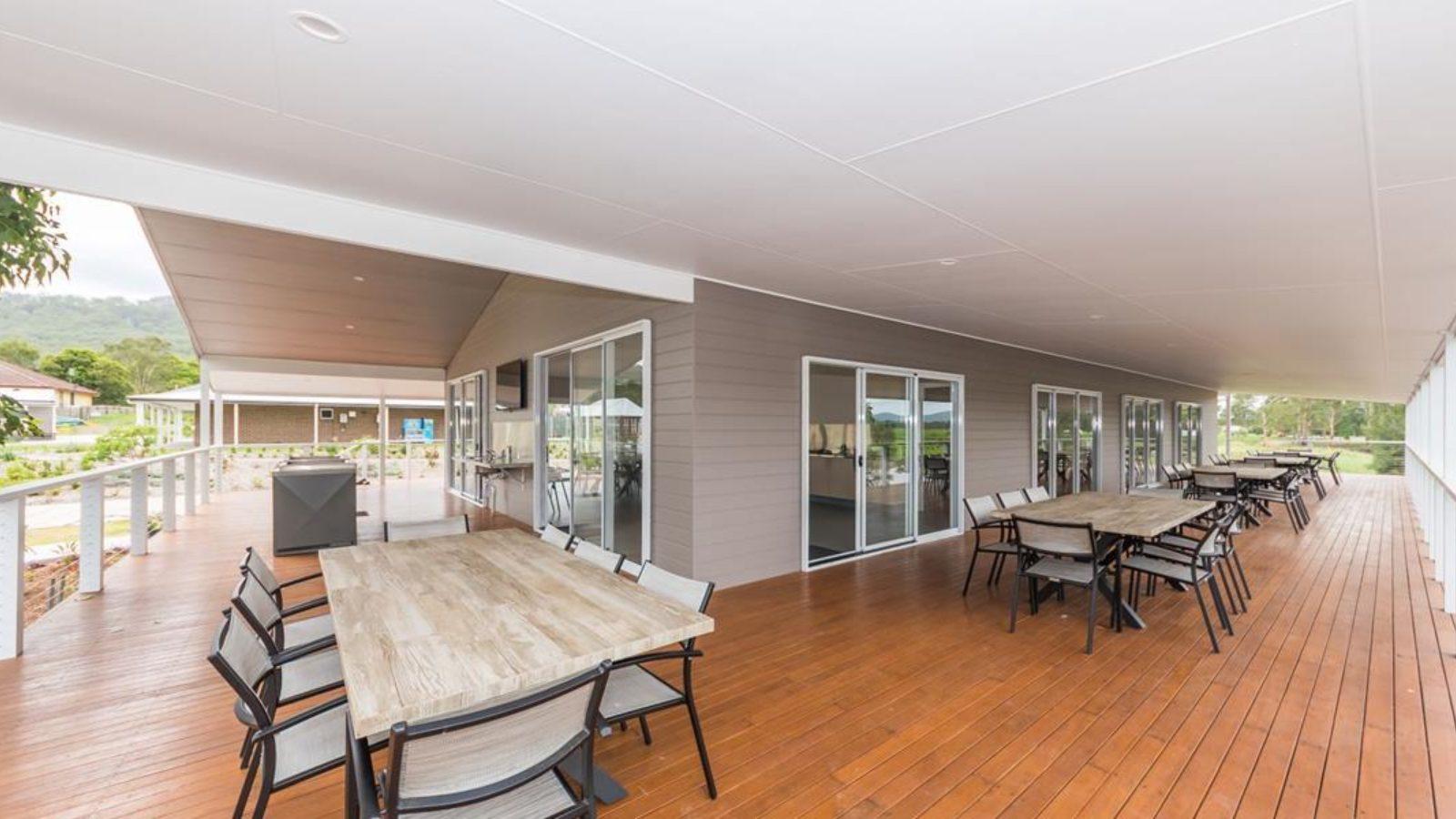 Big4 River Myall camp kitchen deck
