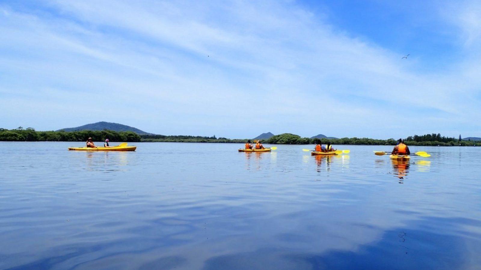 Lazy Paddles Myall River blue horizon