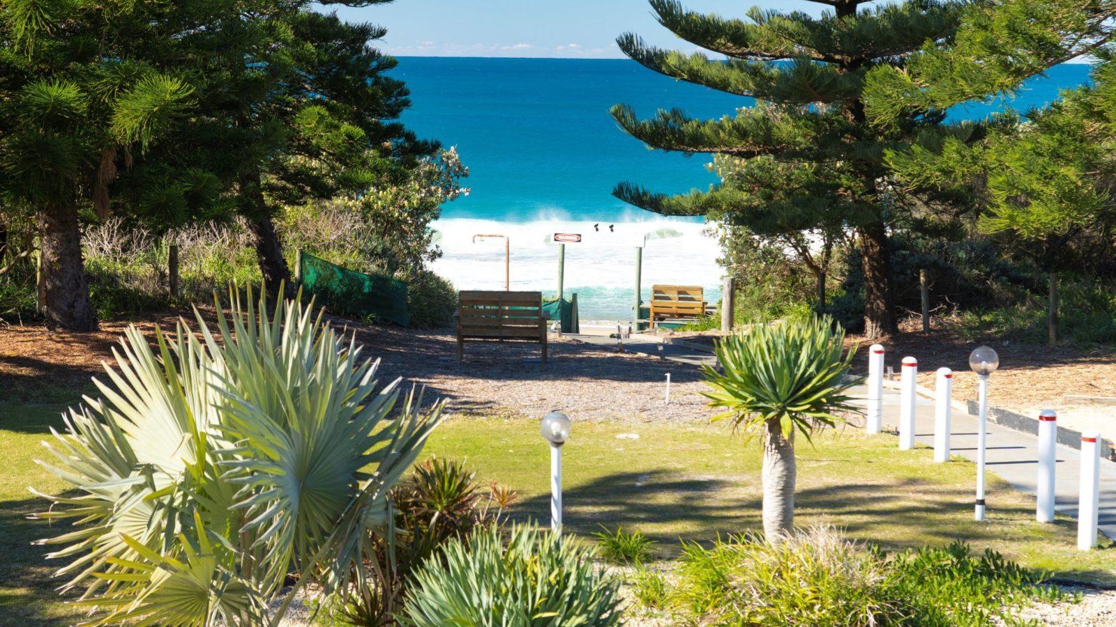 Access to Diamond Beach from Seashells Beach Front Resort, Hallidays Point
