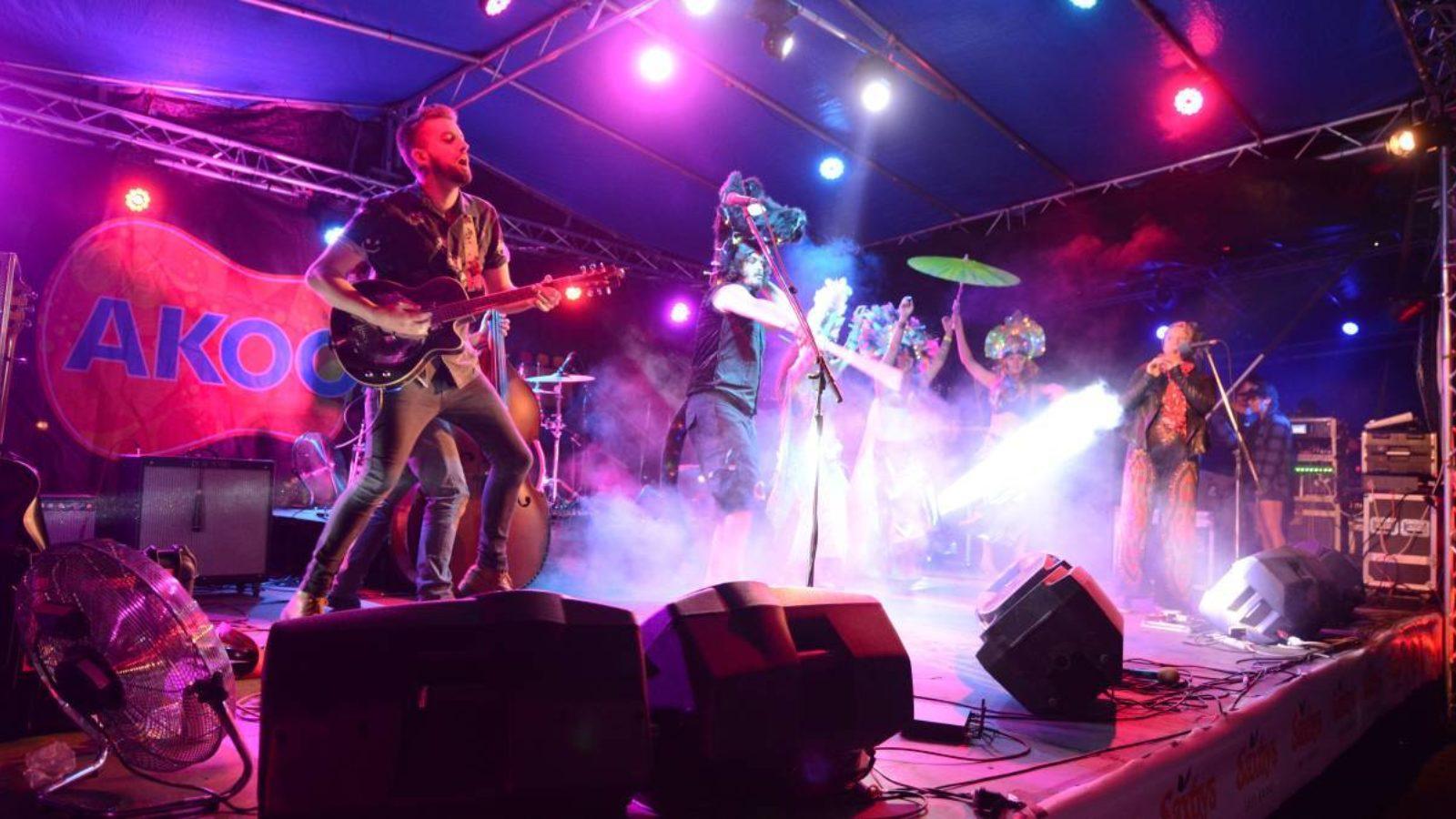 Wingham Akoostik Music Festival stage at night
