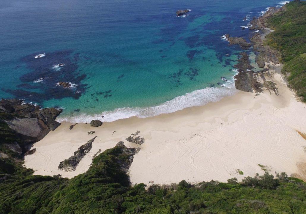 Mc Brides Beach Forster aerial