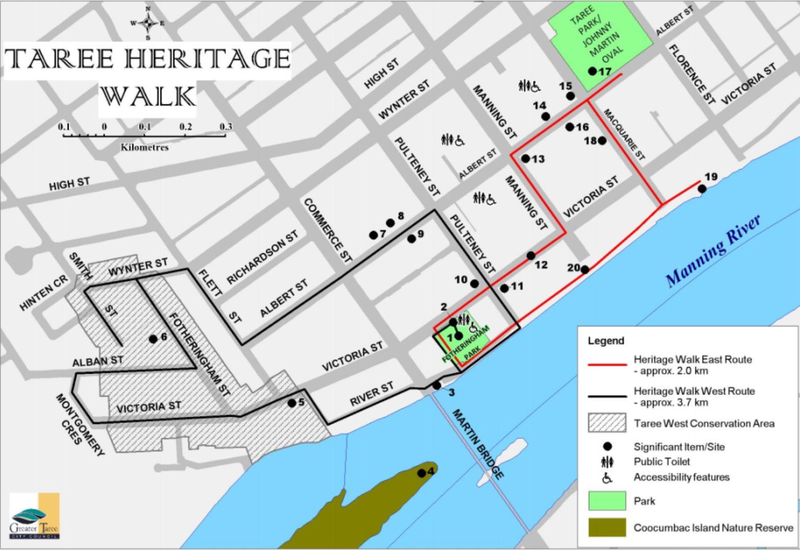 Taree Heritage Walk reference map